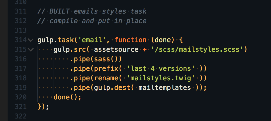 Gulp task to create the styles