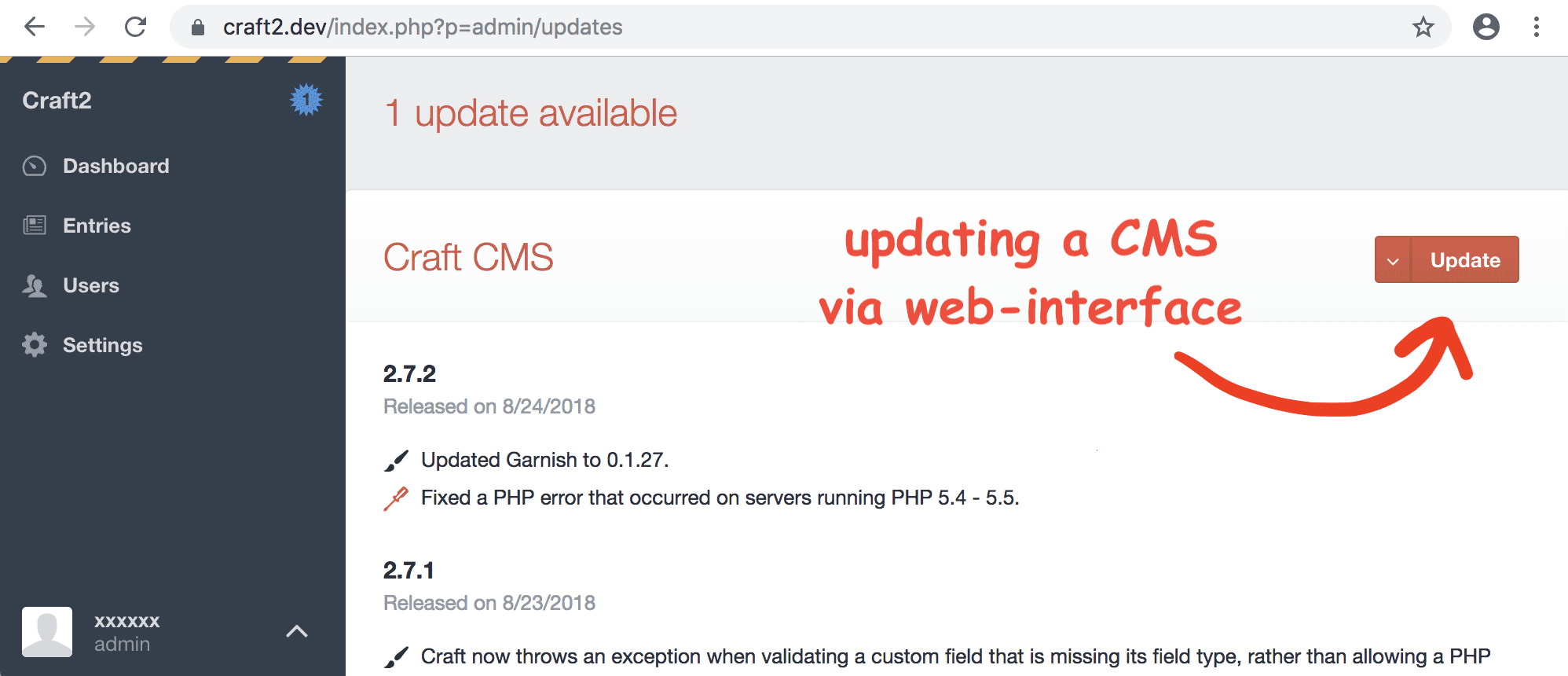 web interface update in CraftCMS
